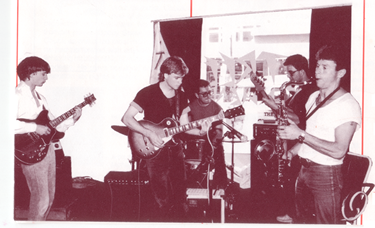 Ross Hill, Chrill Lloyd, John Buckland (Bass), Finn (Tenor) and Mr X (Drums) playing in 1984 at a long gone Symonds Street Cafe