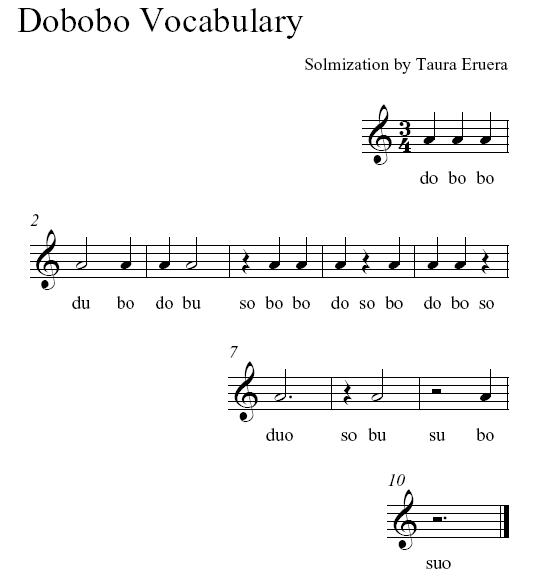 Dobobo vocabulary
